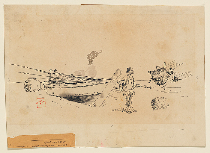 Two Japanese Fishing Boats on Shore