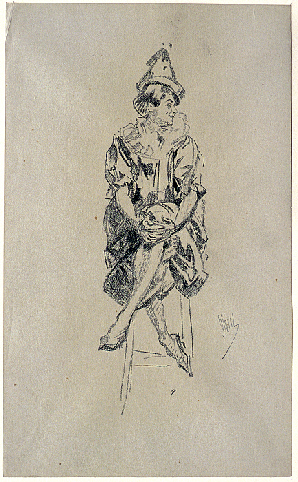 Seated Female Clown with Legs Crossed and Hands Clasped over Left Knee