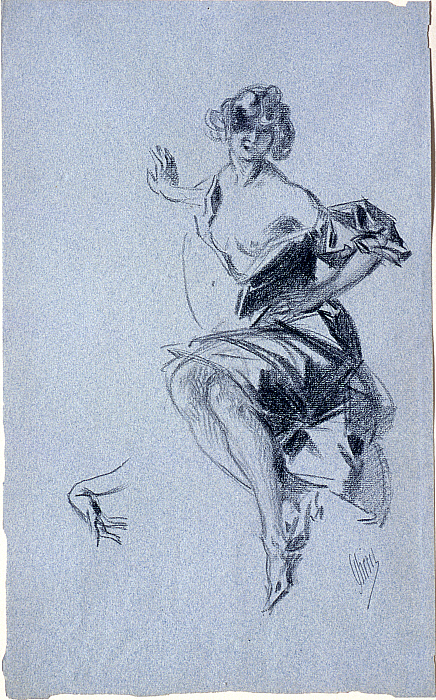 Seated Woman with Left Hand on Her Hip, and Study of a Hand