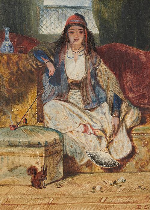 Cypriot Woman Smoking a Chibouk