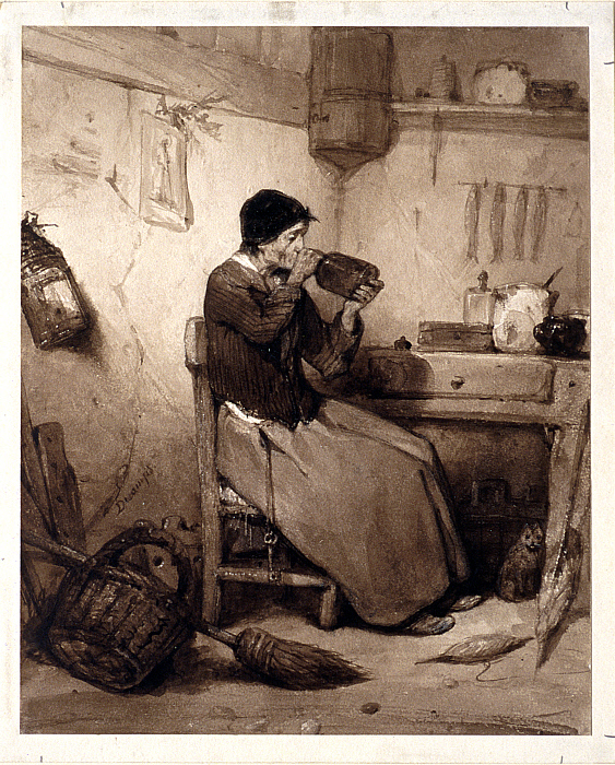 Old Woman Drinking