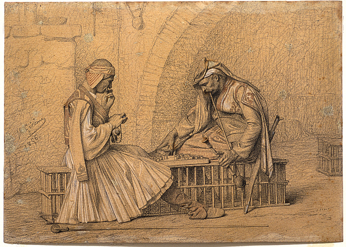 Two Soldiers Playing Checkers