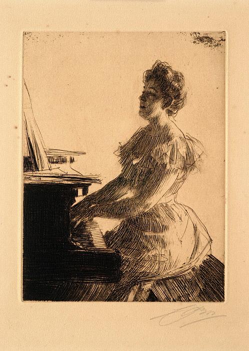 At the Piano (Miss Anna Burnett)