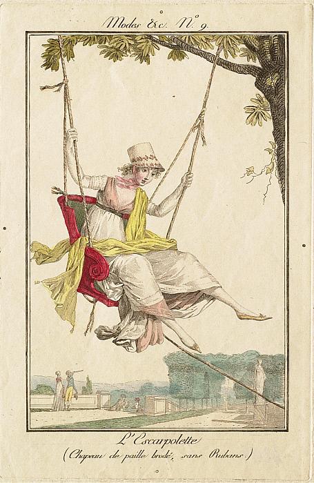 Modes et Manières No. 9: L'Escarpolette (Chapeau de paille brodé, sans Rubans)