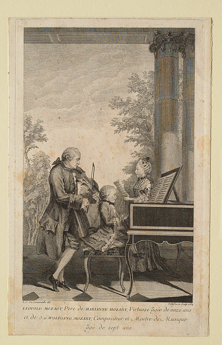 Leopold Mozart, Père de Marianne Mozart, virtuose agée de onze ans et de Wolfgang Mozart, compositeur et maître de musique âgé de sept ans