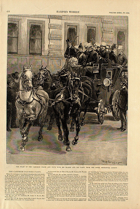 The Start of the Carnegie Coach and Four with Mr. Blane and His Party from the Hotel...