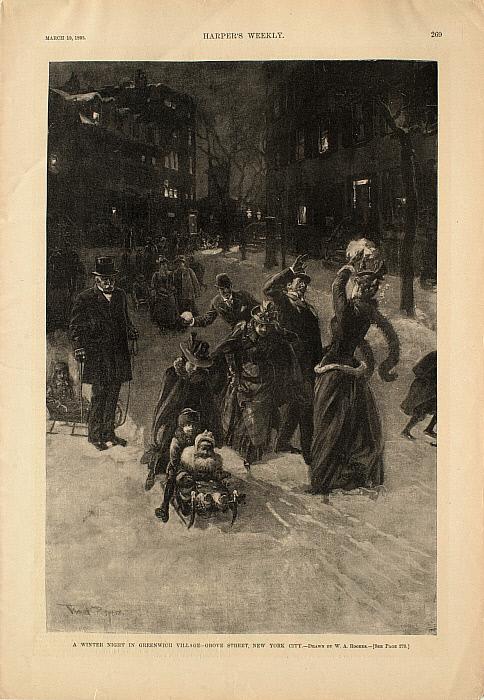 A Winter Night in Greenwich Village—Grove Street, New York City
