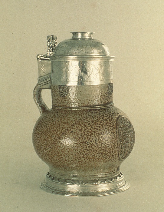 Stoneware Jug with Silver Mounts