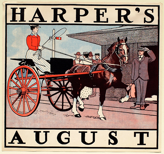 Young Woman in Small Carriage at Depot, August Harper's