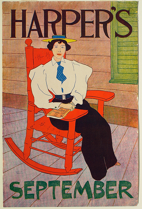Young Woman Seated in Red Rocking Chair, September Harper's