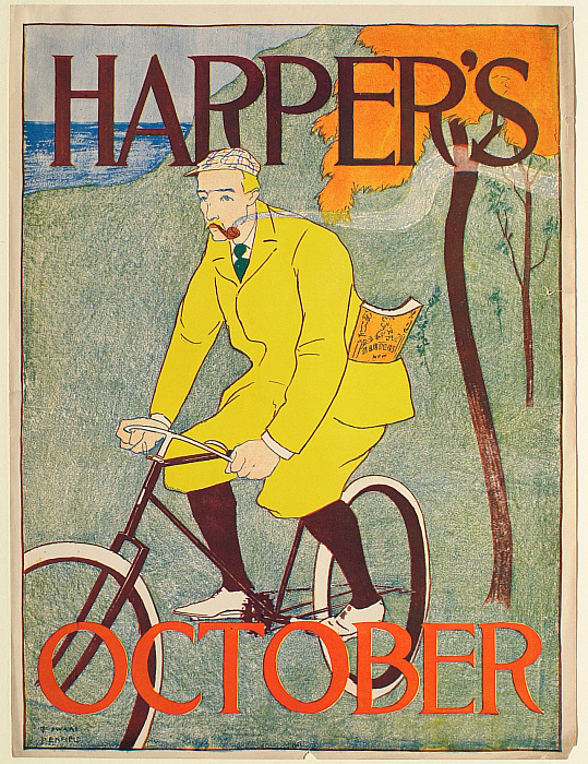 Man in Yellow Suit on Bicycle, October Harper's