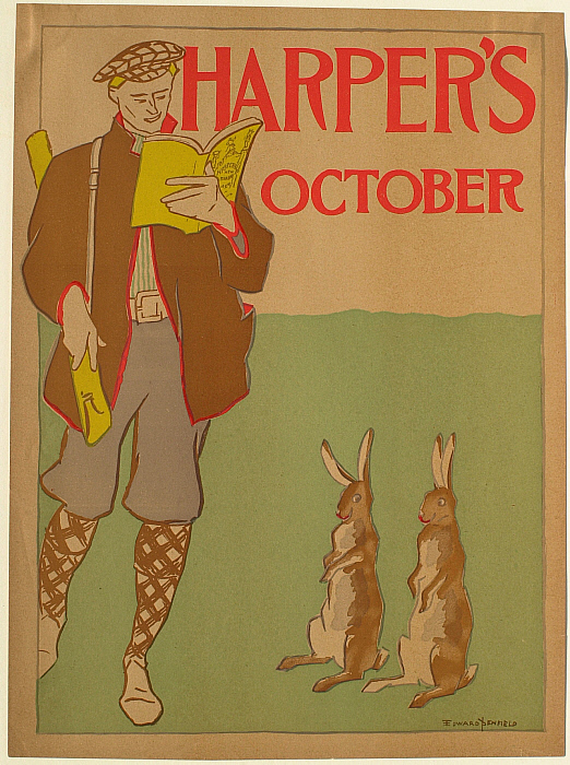 Man with a Rifle and Two Rabbits, October Harper's