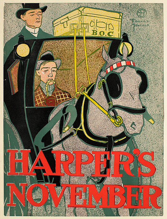 Man in a Hansom Cab, November Harper's