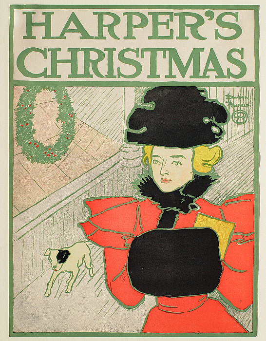Woman with a Muff Walking with a Small Dog, Christmas Harper's