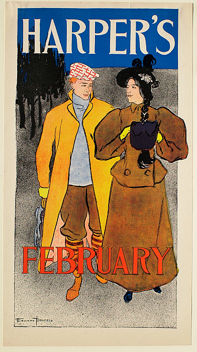 Man with Skates and Yellow Coat with Girl, February Harper's