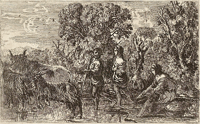 Shepherds Crossing a Stream