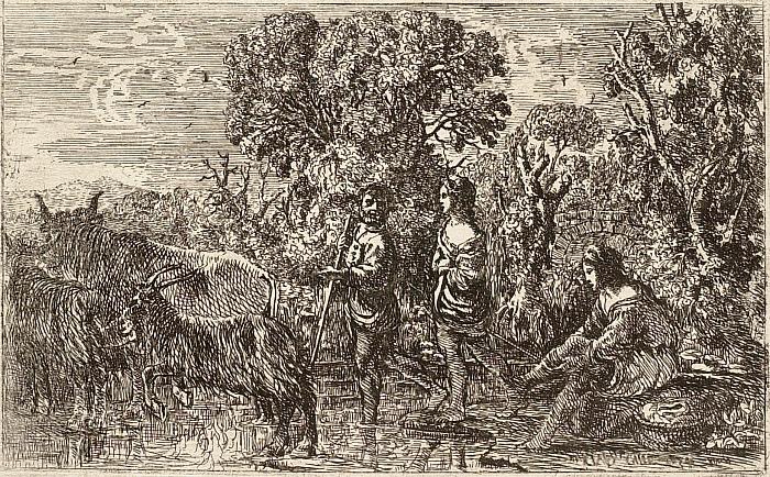Shepherds Crossing a Stream