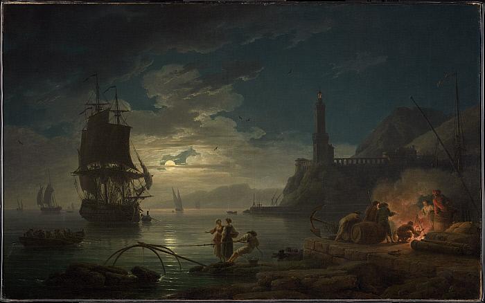 Coastal Scene in Moonlight