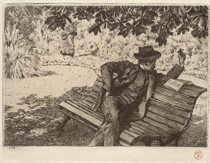 Renée Mauperin: Renée approaching, Denoisel reading in the garden