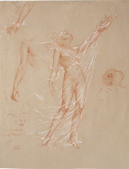 Sheet of Studies of a Nude Woman Holding a Lyre and Enveloped in a Transparent Veil
