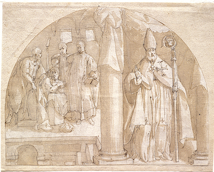 Lunette with Bishop Saint Baptizing a Man