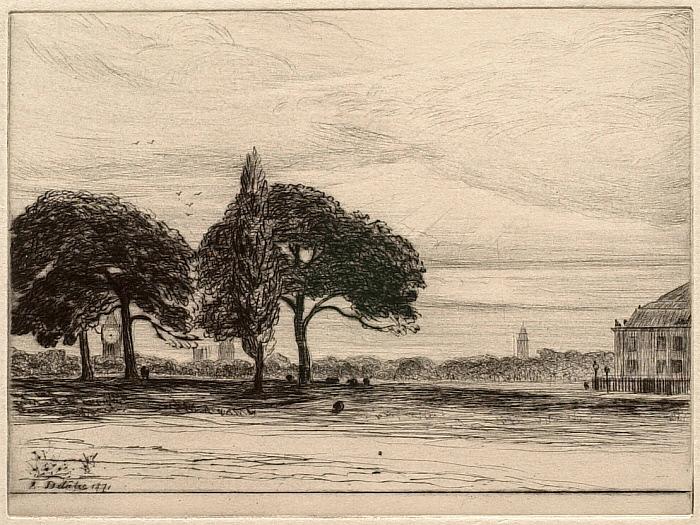 Douze Eaux-Fortes et Pointes Seches, XI: View of London with Big Ben (?)
