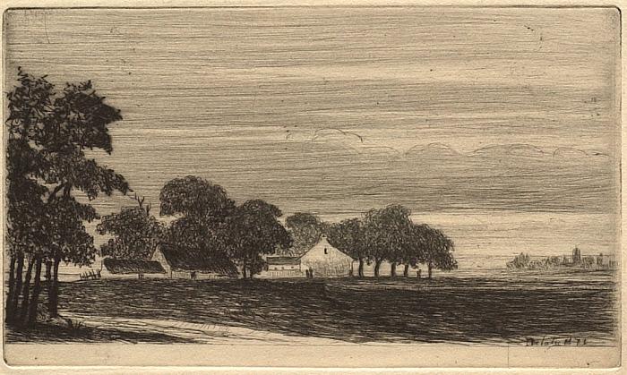 Douze Eaux-Fortes et Pointes Seches, VI: A Farm with Several Buildings