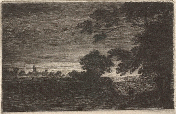 Douze Eaux-Fortes et Pointes Seches, VII: Night Scene with Church Steeple in Distance