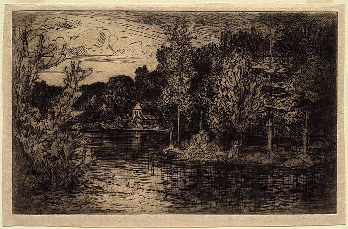 Landscape with Water in Foreground, Island to Right, House on Shore in Distance