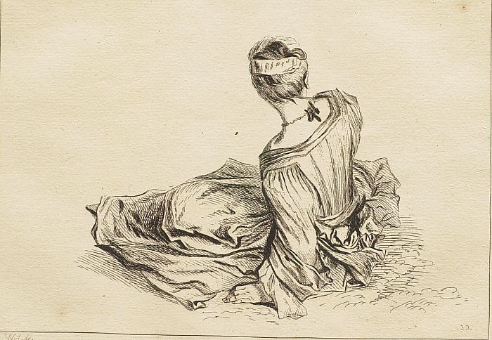 Woman Seated on the Ground, Seen from the Back