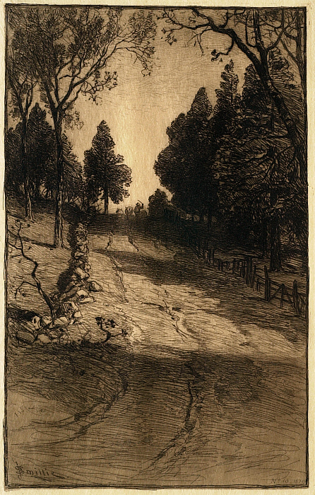 Landscape with Path, Man Leading Mules in Distance