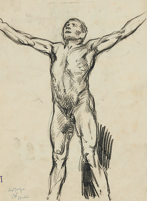 Nude Man with Arms Outstretched