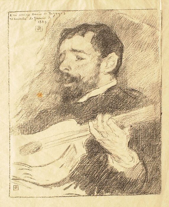 Portrait of the Spanish Painter Dario de Regoyos (1857-1913) Playing the Guitar