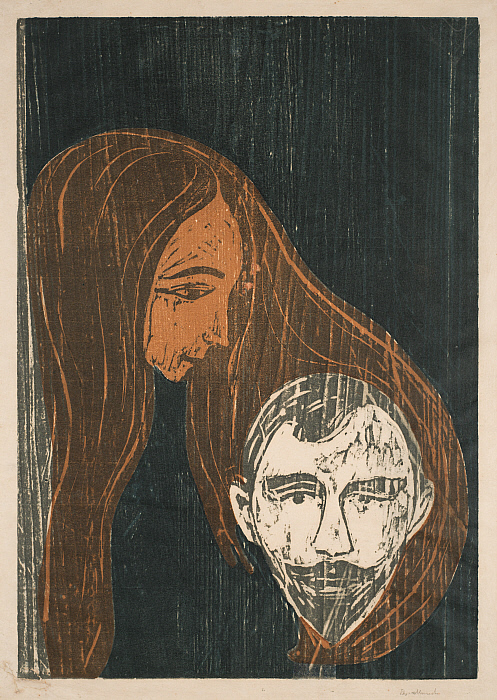 Man's Head in Woman's Hair