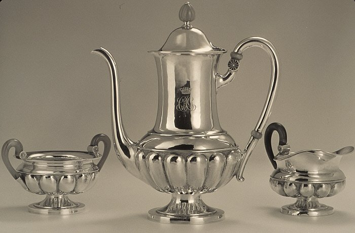 After dinner coffee service: coffee pot, cream pitcher, sugar bowl