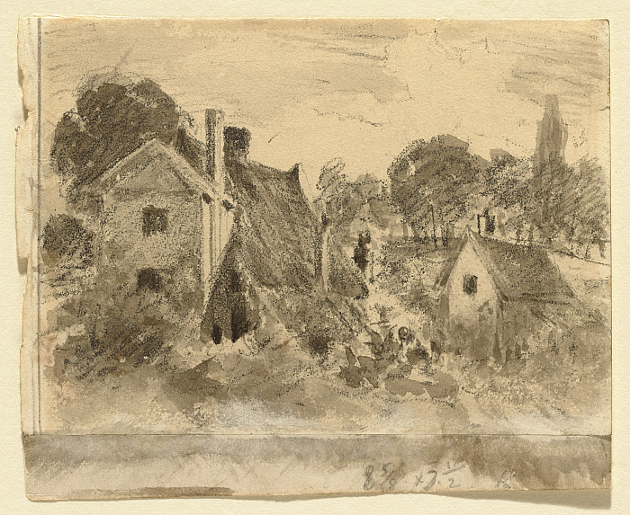 Cottages (recto); Two Studies of a Shepherd (verso)