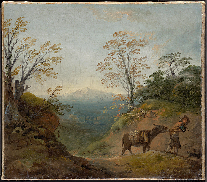 Wooded Landscape with a Boy Leading a Donkey and Dog, and an Extensive Panorama with Buildings and Distant Hills
