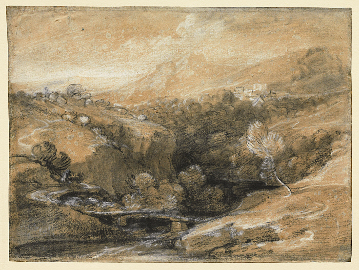 Extensive Wooded Landscape with a Bridge over a Gorge, Distant Village and Hills