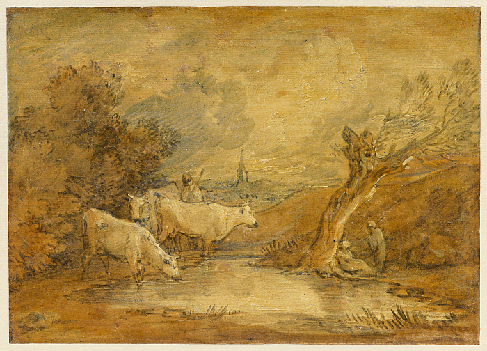 Landscape with Figures, Herdsman and Cattle at a Pool, and Distant Church