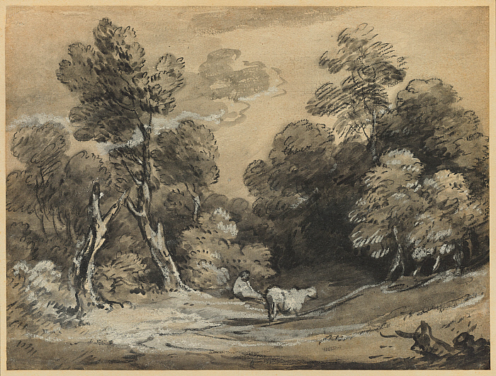 Wooded Landscape with Herdsman and Cow