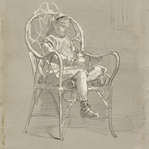 Child Seated in a Wicker Chair