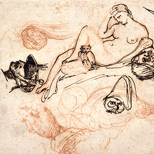 """Sheet of Studies with Michelangelo's """"Night,"""" a Grenadier, and Other Sketches"""