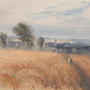Two Figures Crossing a Wheatfield