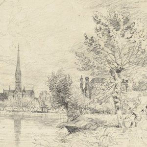 Salisbury Cathedral from the River Avon (recto); Man Pulling a Rope (verso)
