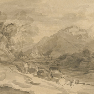 Rocky Wooded Landscape with Herdsman Driving Cattle along a Valley and Distant Mountains