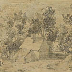 Study of a House and Shed in a Wooded Valley