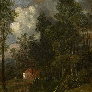 A Wooded Landscape with Figures by a House