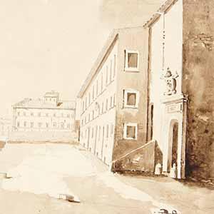 Palace courtyard with papal coat of arms (Cour de palais avec blason papal)